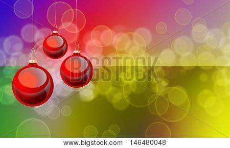 Christmas red background with decorations of two colours: golden and red