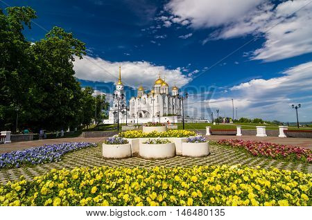 Dormition Cathedral Or Assumption Cathedral In Vladimir, Russia.