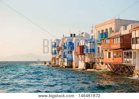 Little Venice in Mykonos Island Greece Cyclades