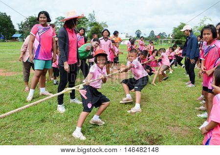 PHITSANULOK THAILAND - SEP 1: Compete in tug of war shown at rural school on Sep 1 2016 in Phitsanulok