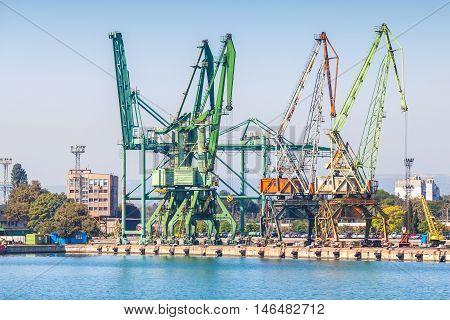 Cargo Cranes, Summer View Of Varna Port