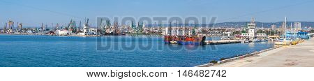Wide Panoramic Photo Of Varna Port In Summer