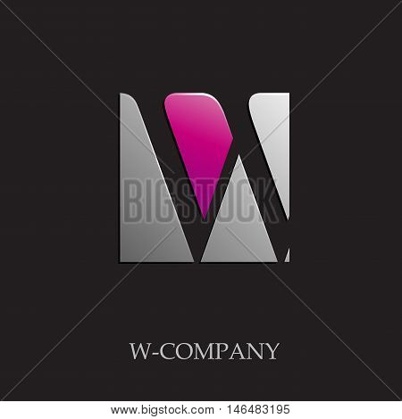 Vector sign initial letter W on black background