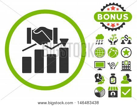 Acquisition Graph icon with bonus. Vector illustration style is flat iconic bicolor symbols, eco green and gray colors, white background.