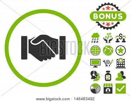 Acquisition Handshake icon with bonus. Vector illustration style is flat iconic bicolor symbols, eco green and gray colors, white background.