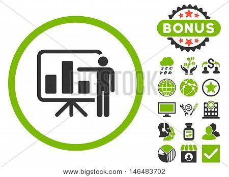 Bar Chart Presentation icon with bonus. Vector illustration style is flat iconic bicolor symbols, eco green and gray colors, white background.
