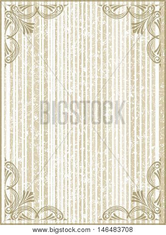 Old Frame With Cracked Striped Background In Gentle Tones.retro Vintage Greeting Card, Invitation Or