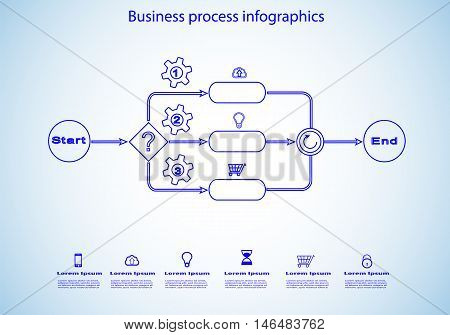 vector infographics of business process sketch in blue color with reusable icon set