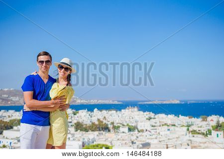 Young couple at Mykonos island, Cyclades, Greece