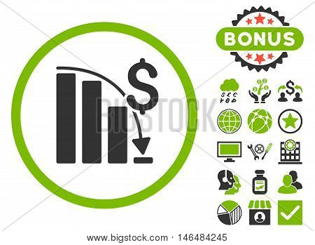 Epic Fail Chart icon with bonus. Vector illustration style is flat iconic bicolor symbols, eco green and gray colors, white background.