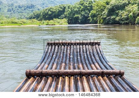 bamboo raft in the stream drift outdoor