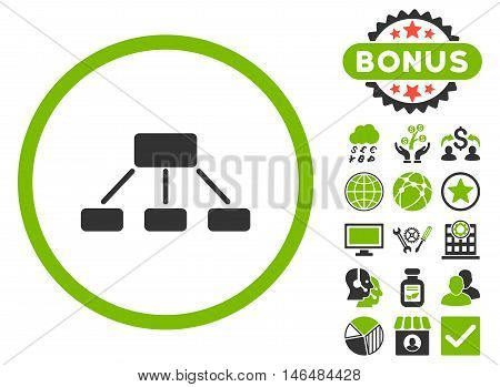 Hierarchy icon with bonus. Vector illustration style is flat iconic bicolor symbols, eco green and gray colors, white background.