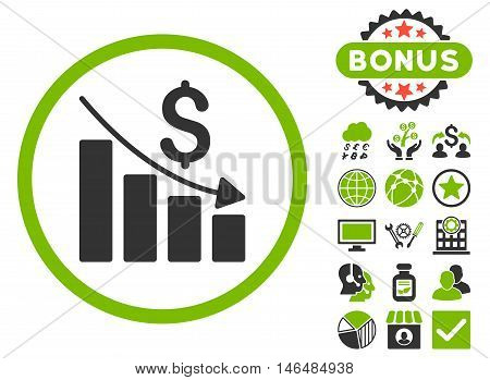 Recession Chart icon with bonus. Vector illustration style is flat iconic bicolor symbols, eco green and gray colors, white background.