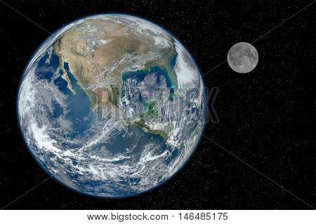 Earth and moon over a starry black space background. Elements of this image (earth and moon photographs) furnished by NASA