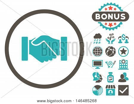 Acquisition Handshake icon with bonus. Vector illustration style is flat iconic bicolor symbols, grey and cyan colors, white background.
