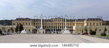 VIENNA, AUSTRIA - September 3, 2016: View of the baroque Schonbrunn Palace a former imperial summer residence located in Vienna, on September 3, 2016 in Vienna, Austria