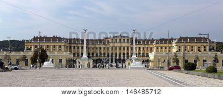 VIENNA, AUSTRIA - September 3, 2016: View of the baroque Schonbrunn Palace a former imperial summer residence located in Vienna, on September 3, 2016 in Vienna, Austria