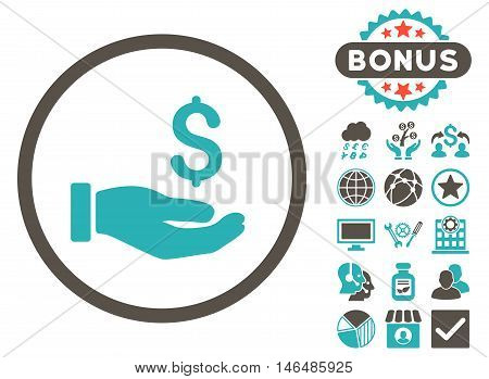 Earnings Hand icon with bonus. Vector illustration style is flat iconic bicolor symbols, grey and cyan colors, white background.