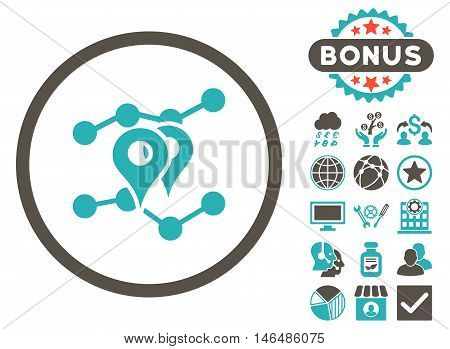 Geo Trends icon with bonus. Vector illustration style is flat iconic bicolor symbols, grey and cyan colors, white background.