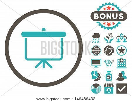 Projection Board icon with bonus. Vector illustration style is flat iconic bicolor symbols, grey and cyan colors, white background.