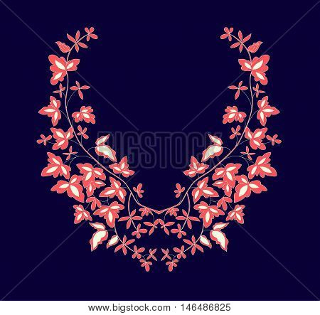 Floral design , neck line embroidery. Vector illustration hand drawn.