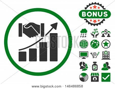 Acquisition Growth icon with bonus. Vector illustration style is flat iconic bicolor symbols, green and gray colors, white background.