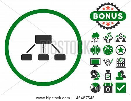 Hierarchy icon with bonus. Vector illustration style is flat iconic bicolor symbols, green and gray colors, white background.