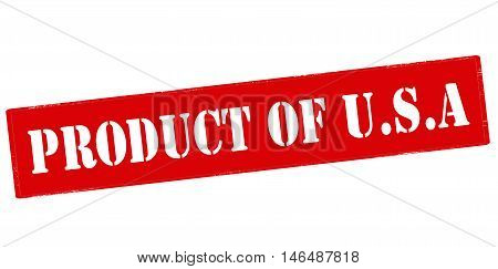 Rubber stamp with text product of USA inside vector illustration
