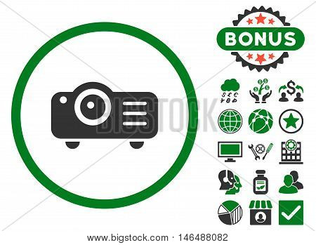 Projector icon with bonus. Vector illustration style is flat iconic bicolor symbols, green and gray colors, white background.