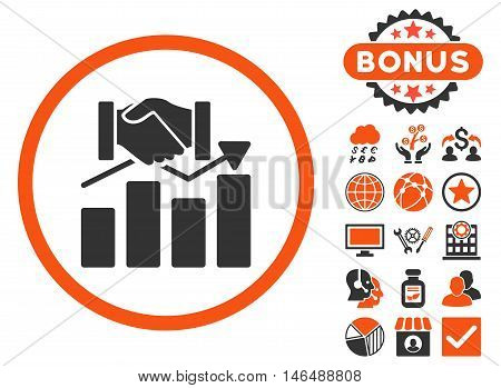 Acquisition Graph icon with bonus. Vector illustration style is flat iconic bicolor symbols, orange and gray colors, white background.