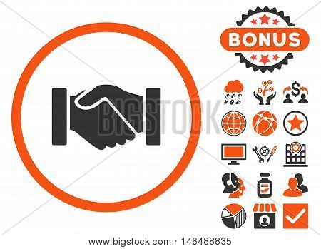 Acquisition Handshake icon with bonus. Vector illustration style is flat iconic bicolor symbols, orange and gray colors, white background.