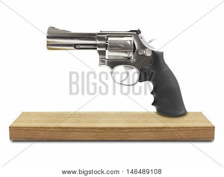 Revolvers on wood isolated white background, gun steel