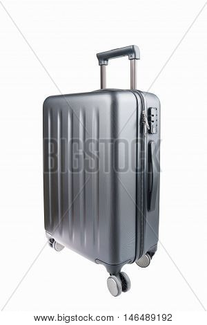 travel plastic suitcase and wheels isolated on white with clipping path