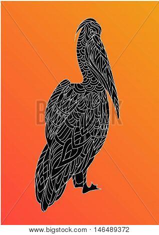 Pelican. Fantasy ornamental bird hand drawn. Vector illustration. Folk design. Line art. T-shirt designs.