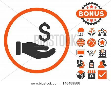 Earnings Hand icon with bonus. Vector illustration style is flat iconic bicolor symbols, orange and gray colors, white background.