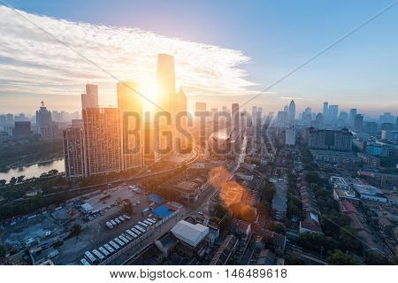 aerial view of modern cityscape in tianjin on the morning China