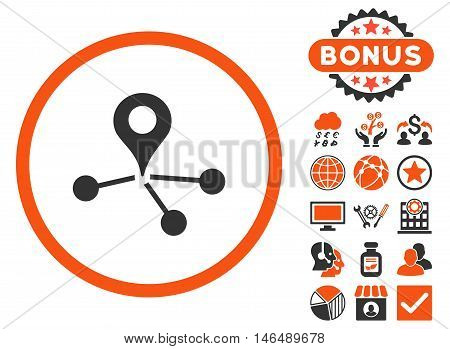 Geo Network icon with bonus. Vector illustration style is flat iconic bicolor symbols, orange and gray colors, white background.
