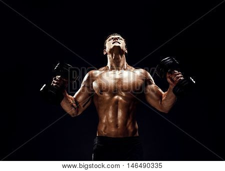 Handsome bodybuilder doing exercise on biceps with dumbbell. Isolated.