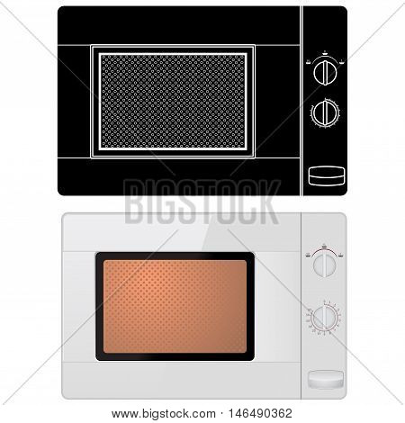 Microwave oven. Vector illustration isolated on white background