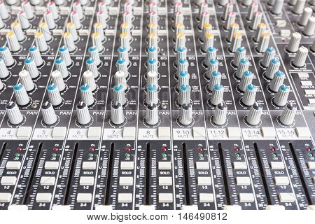 mixing console sound mixer is used for audio signals modifications to achieve the desired output.