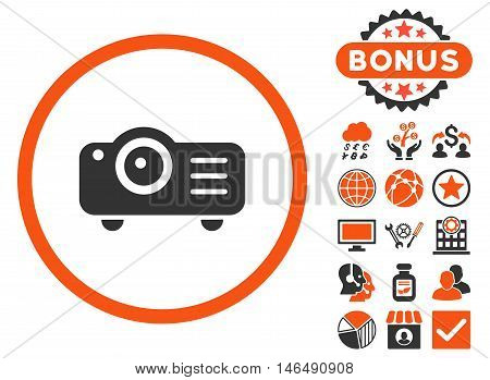 Projector icon with bonus. Vector illustration style is flat iconic bicolor symbols, orange and gray colors, white background.