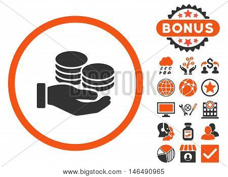 Salary Coins icon with bonus. Vector illustration style is flat iconic bicolor symbols, orange and gray colors, white background.
