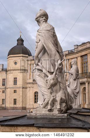 Gatchina Palace. Sculpture at the front door. Allegory - prudence. Sculptor Johann Morleyter.