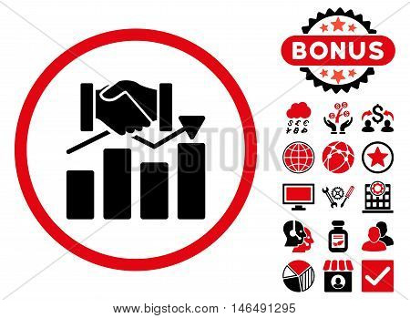 Acquisition Graph icon with bonus. Vector illustration style is flat iconic bicolor symbols, intensive red and black colors, white background.