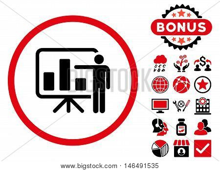 Bar Chart Presentation icon with bonus. Vector illustration style is flat iconic bicolor symbols, intensive red and black colors, white background.