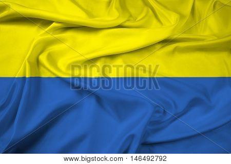 Waving Flag of Latacunga Ecuador, with beautiful satin background