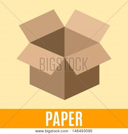 Organic waste flat icon with paper packing box and text. Vector concept illustration template sorting waste yellow sticker modern design.