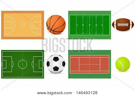 Sport grounds for soccer football basketball and tennis. With balls. Vector illustration isolated on white background.