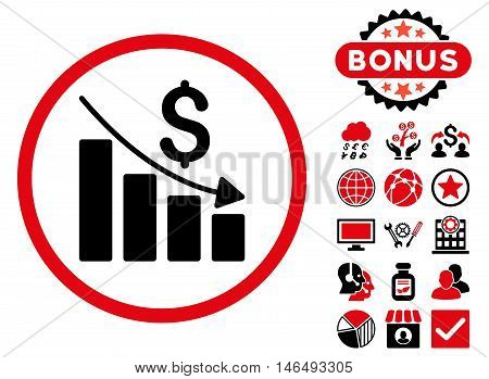 Recession Chart icon with bonus. Vector illustration style is flat iconic bicolor symbols, intensive red and black colors, white background.