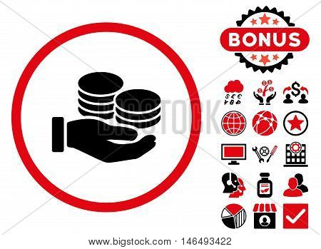 Salary Coins icon with bonus. Vector illustration style is flat iconic bicolor symbols, intensive red and black colors, white background.